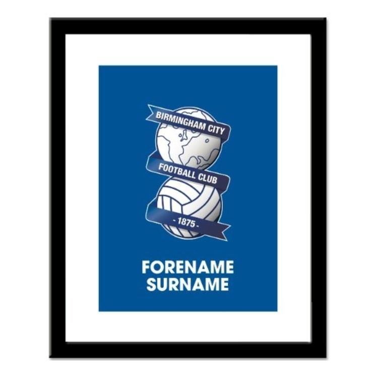 Birmingham City FC Personalised Framed Crest Print
