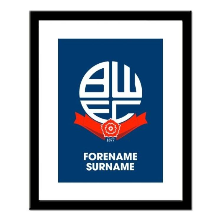 Bolton Wanderers FC Personalised Framed Crest Print