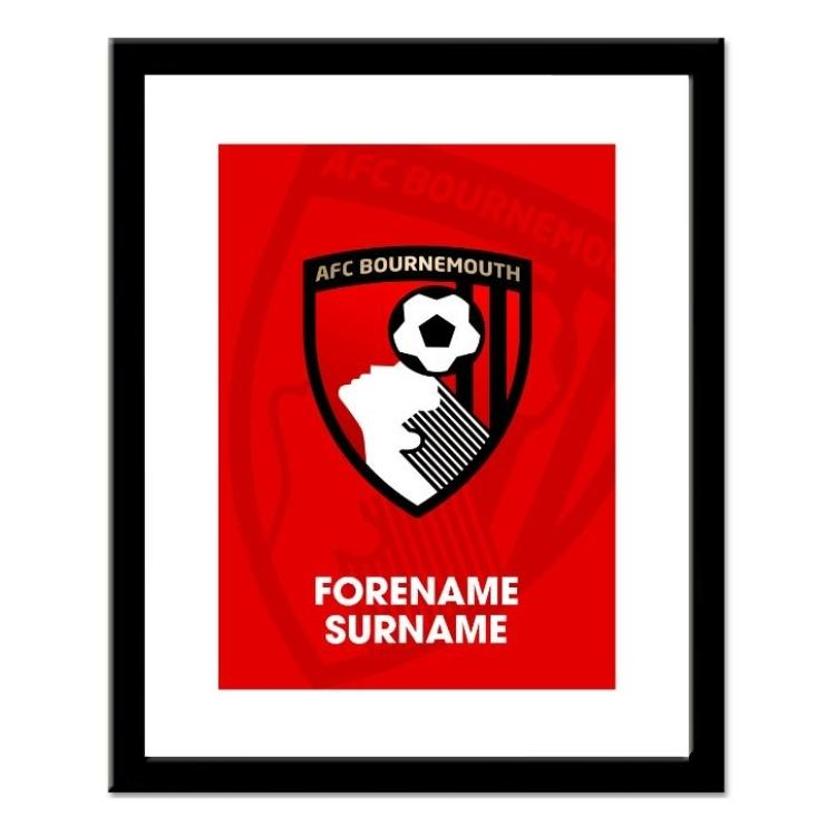 AFC Bournemouth Personalised Framed Crest Print