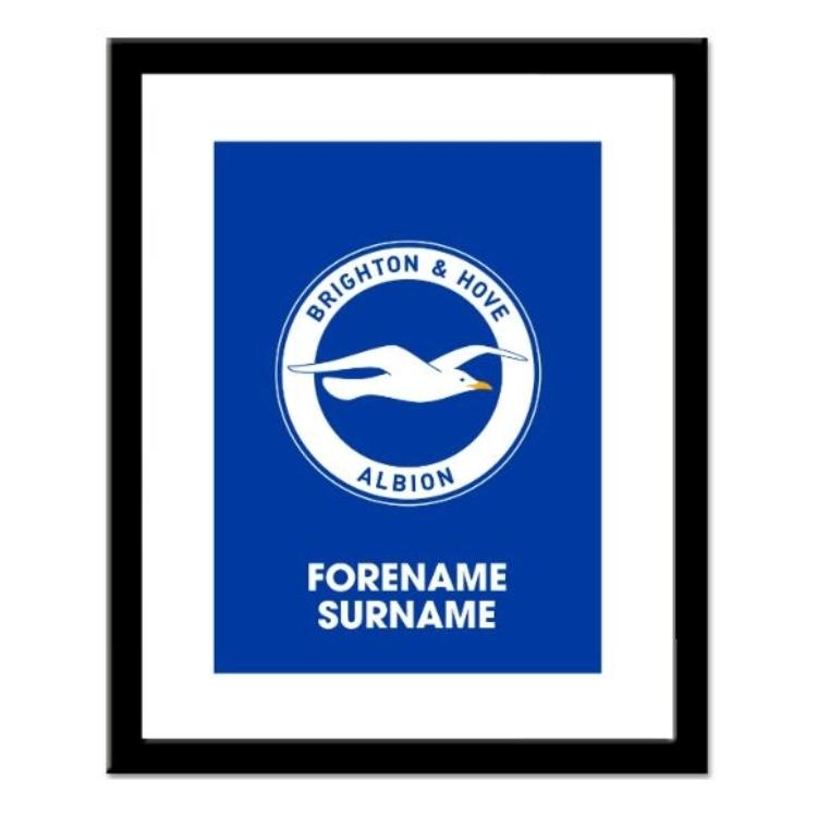 Brighton and Hove Albion FC Personalised Framed Crest Print