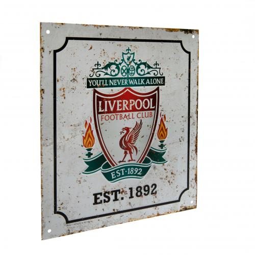 Liverpool FC Metal Logo Sign - Retro
