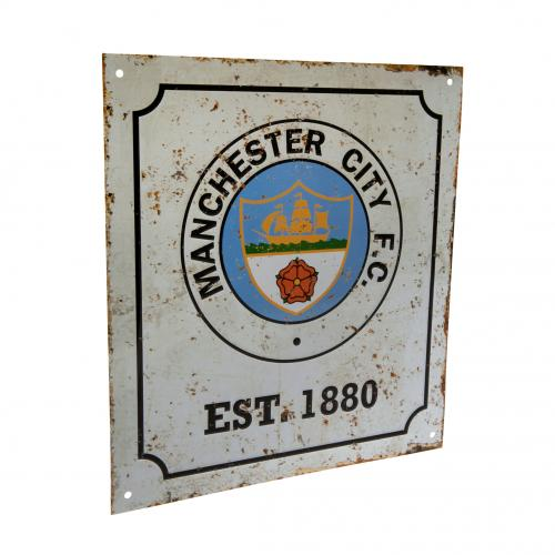 Manchester City FC Metal Logo Sign - Retro