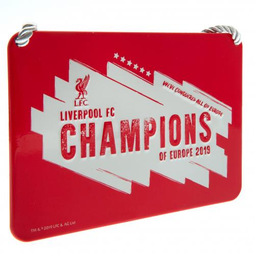 Liverpool FC Metal Bedroom Sign - Champions of Europe