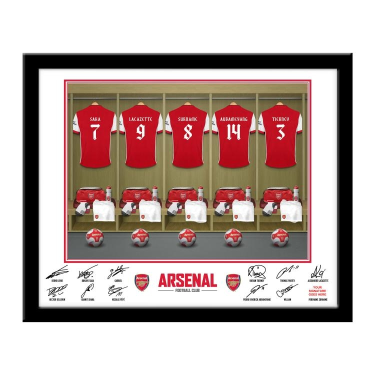 Arsenal FC Personalised Framed Dressing Room Print