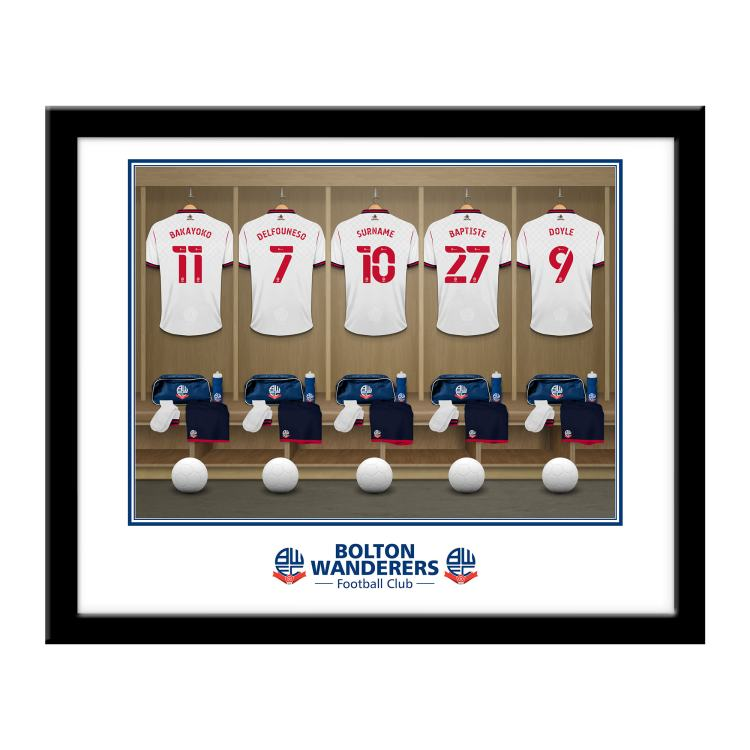 Bolton Wanderers FC Personalised Framed Dressing Room Print