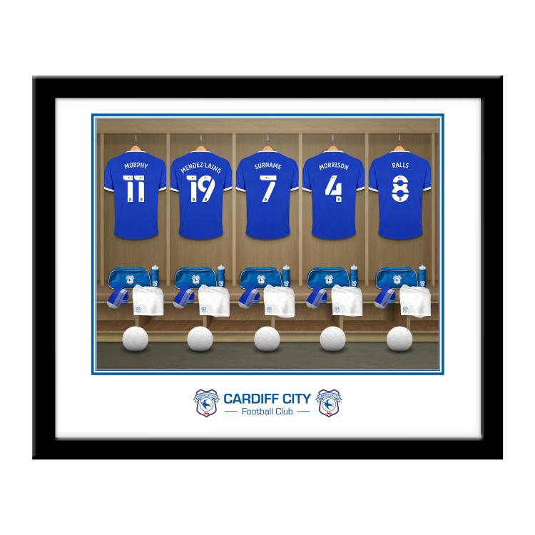 Cardiff City FC Personalised Framed Dressing Room Print