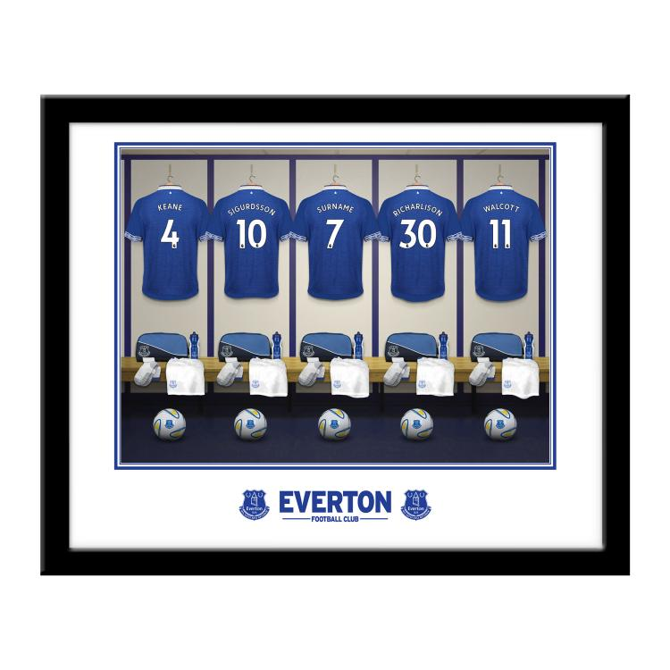 Everton FC Personalised Framed Dressing Room Print