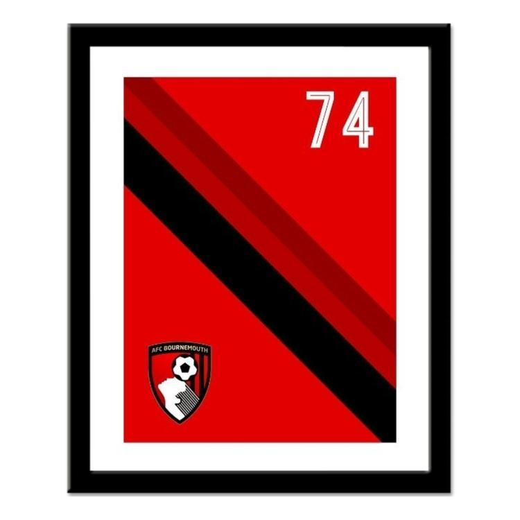 AFC Bournemouth Personalised Framed Stripe Print