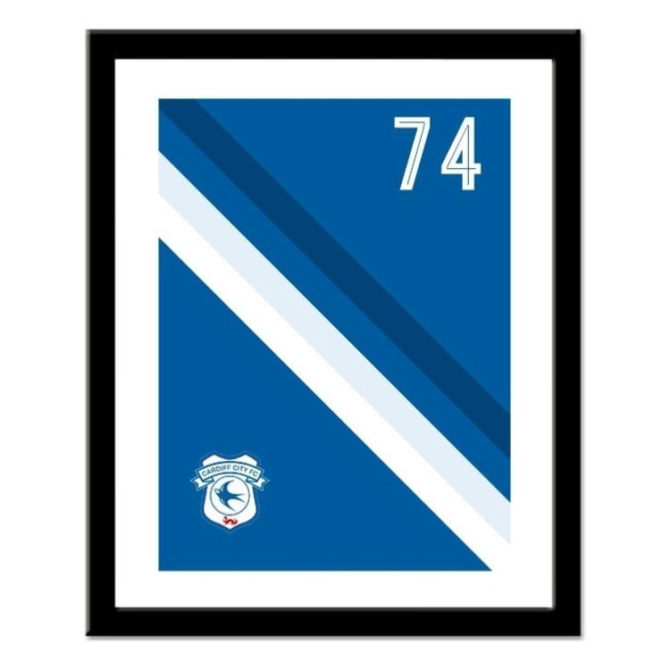 Cardiff City FC Personalised Framed Stripe Print