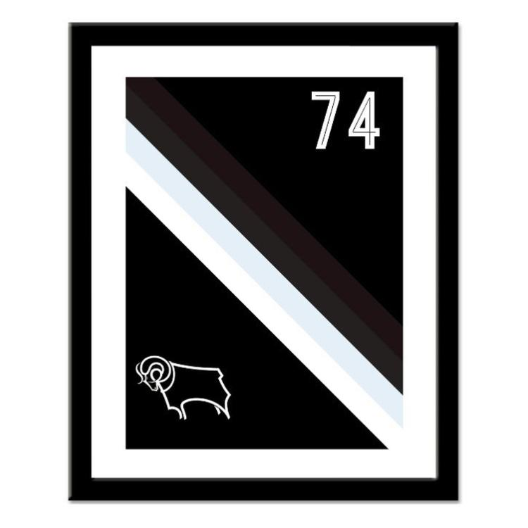 Derby County FC Personalised Framed Stripe Print